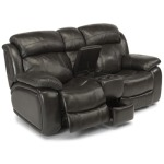 Como Leather Power Reclining Love Seat with Console