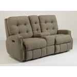 Devon Fabric Power Reclining Loveseat with Console, Power Headrests and Nailhead Trim