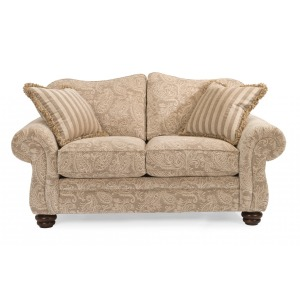 One-Tone Fabric Loveseat without Nailhead Trim
