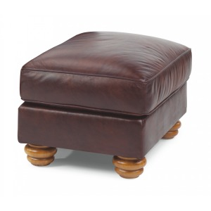 Harrison Leather Ottoman without Nailhead Trim