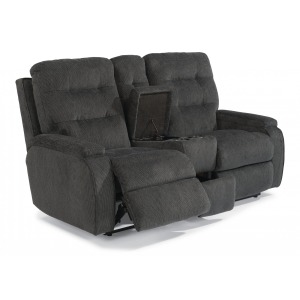 Kerrie Fabric Power Reclining Loveseat w/Console