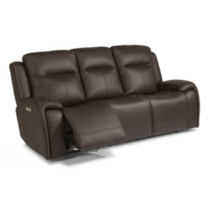 Solo Leather Power Reclining Sofa w/Power Headrests