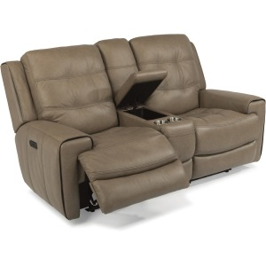 Leather Power Reclining Loveseat w/ Console and Power Headrests