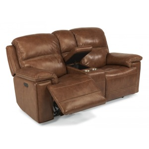 Fenwick Leather Power Loveseat w/Console & Power Headrests