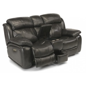 Como Leather Power Reclining Loveseat W/ Console and Power Headrests