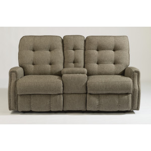 Devon Power Reclining Loveseat with Console and Nailhead Trim
