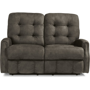 Devon Power Reclining Loveseat with Power Headrests and Nailhead Trim