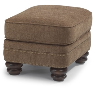 Bay Bridge Fabric Ottoman W/ Nailhead