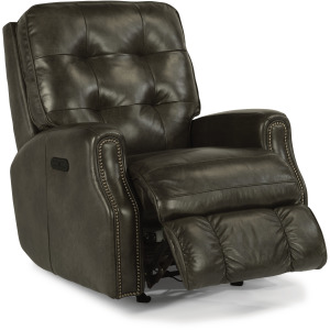 Devon Power Recliner with Power Headrest and Nailhead Trim