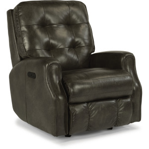 Leather Power Rocking Recliner with Power Headrest and without Nailhead Trim