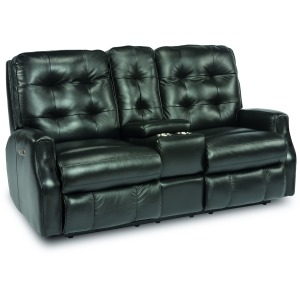Devon Power Reclining Loveseat w/ Console & Power Hdrsts