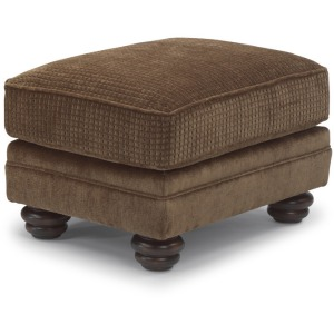 Bexley Two-Tone Fabric Ottoman with Nailhead Trim