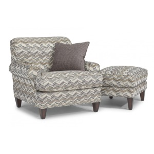 Venture High Leg Rolled Arm Chair & Ottoman