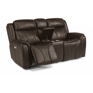 Paisley Leather Power Reclining Loveseat w/Console & Power Headrest