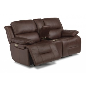 Apollo Leather Power Reclining Loveseat w/ Console & Power Headrests