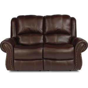 Leather Power Reclining Loveseat with Power Headrests