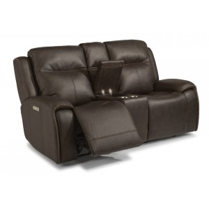 Solo Leather Power Reclining Loveseat w/Console & Power Headrests