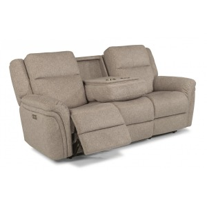 Silas Fabric Power Reclining Sofa w/Power Headrests