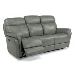 Zoey Leather Power Reclining Sofa w/Power Headrests
