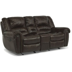 Crosstown Leather Power Love Seat w/ Console