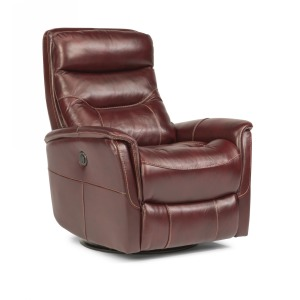 Alden King Leather Power Swivel Gliding Recliner