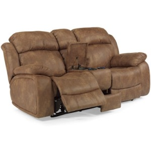 Como NuvoLeather Power Reclining Love Seat with Console