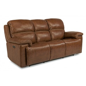 Leather Power Reclining Sofa  w/ Power Headrests