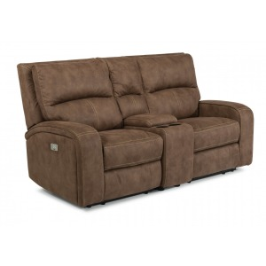 Nirvana Power Reclining Loveseat w/Console & Power Headrests