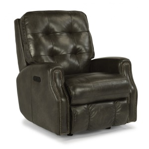 Devon Leather Power Rocking Recliner with Power Headrest and Nailhead