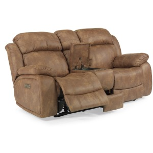 Como Fabric Power Reclining Loveseat w/Console & Power Headrests