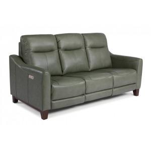 Forte Leather Power Reclining Sofa w/Power Headrests