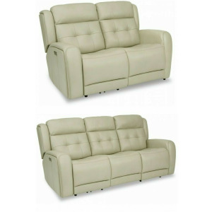 Grant Power Reclining Sofa with Grant Power Reclining Loveseat with Power Headrests