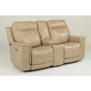 Miller Leather Power Reclining Loveseat w/ Console & Power Headrests
