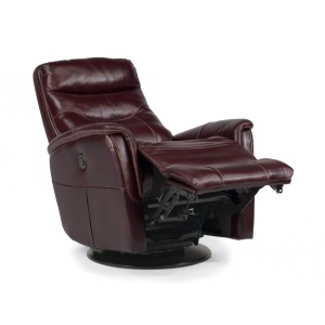 Queen Leather Power Swivel Gliding Recliner