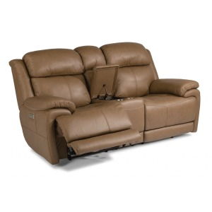 Elijah Leather Power Reclining Loveseat w/Console & Power Headrests