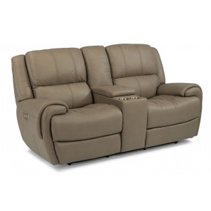Nance Leather Power Reclining Loveseat w/Console & Power Headrests