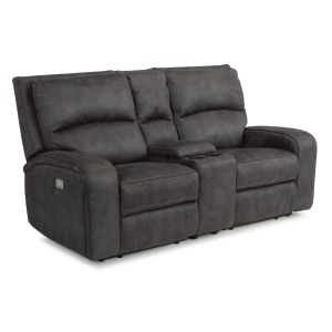 Rhapsody Fabric Power Reclining Loveseat w/Console & Power Headrests