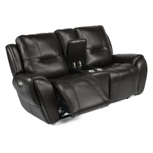 Trip Leather Power Reclining Loveseat w/Console & Power Headrests
