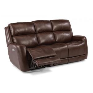 Zelda Leather Power Reclining Sofa w/Power Headrests