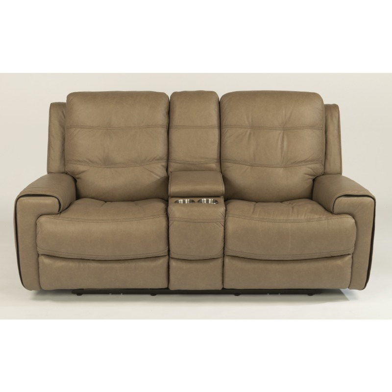 Leather Power Reclining Loveseat with Console and Power Headrests