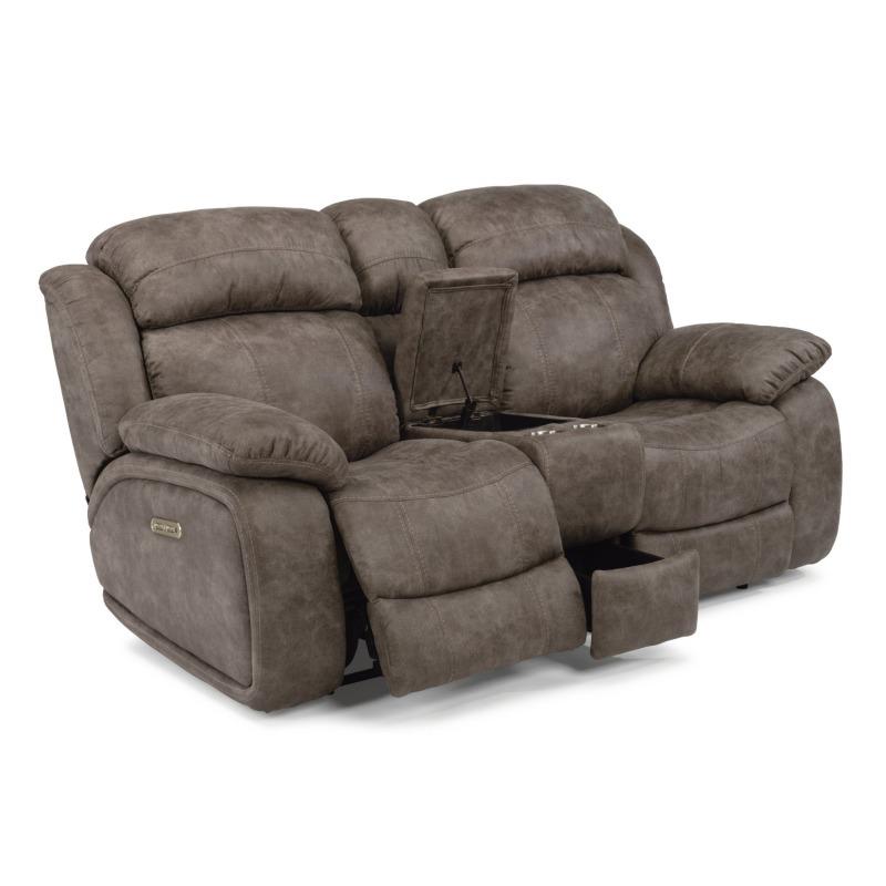 Fabulous Como Fabric Power Reclining Loveseat W Console Power Machost Co Dining Chair Design Ideas Machostcouk
