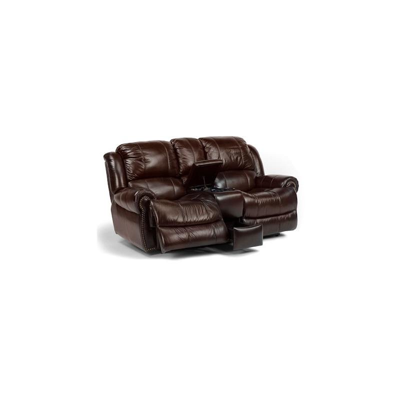 Phenomenal Capitol Leather Power Love Seat W Console By Flexsteel Machost Co Dining Chair Design Ideas Machostcouk