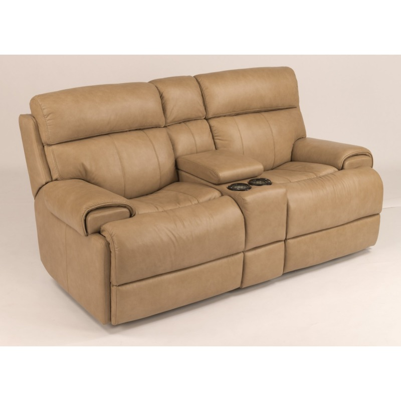 Enjoyable Leather Power Reclining Loveseat With Console By Flexsteel Machost Co Dining Chair Design Ideas Machostcouk
