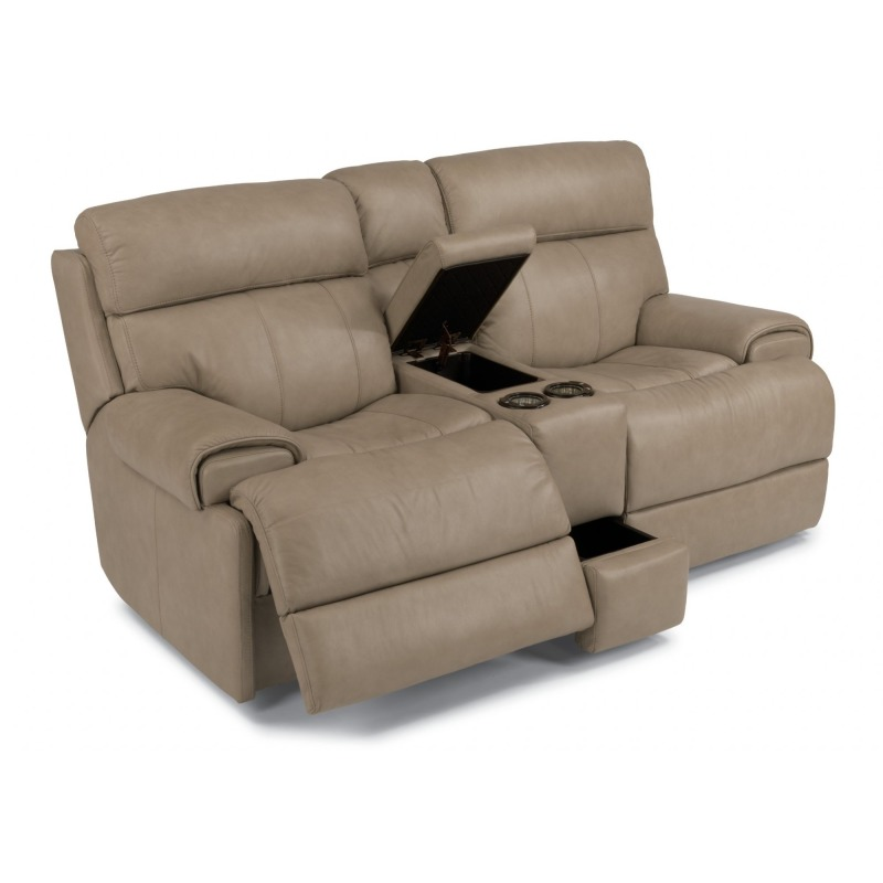 Outstanding Leather Power Reclining Loveseat With Console By Flexsteel Machost Co Dining Chair Design Ideas Machostcouk