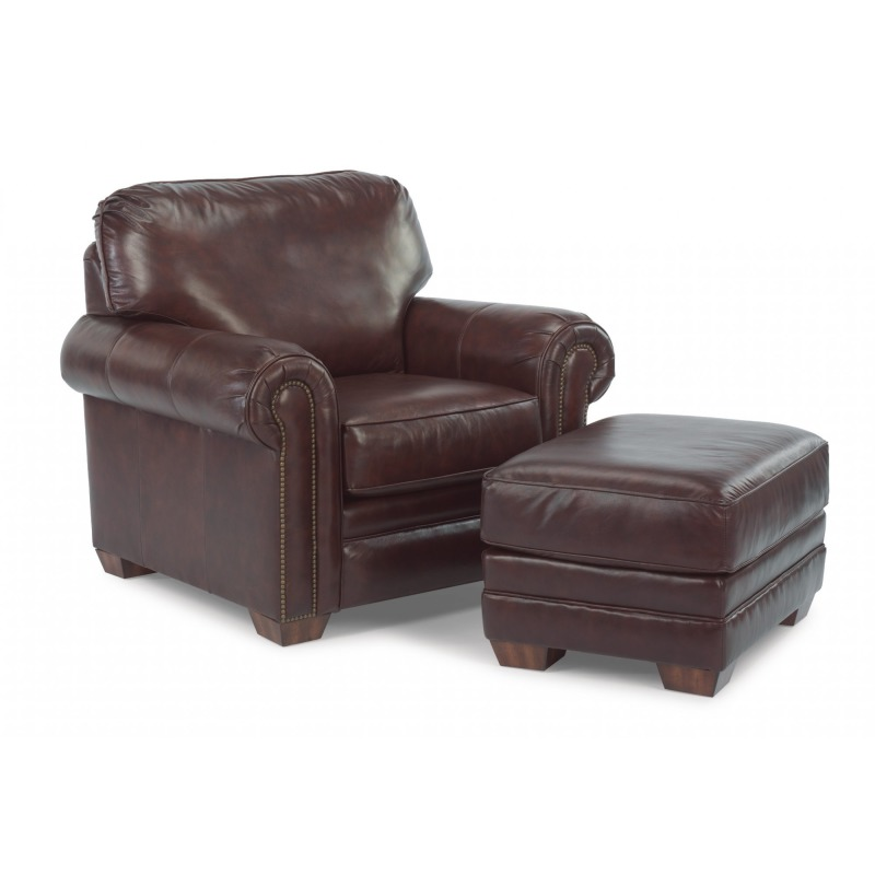Leather Ottoman Without Nailhead Trim By Flexsteel Furniture