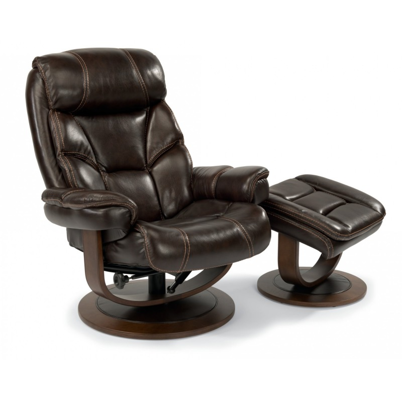 Brilliant Leather Chair And Ottoman By Flexsteel Furniture 1453 Co Unemploymentrelief Wooden Chair Designs For Living Room Unemploymentrelieforg