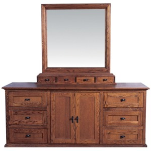 Forest Designs Mission Nine Drawer Dresser & Plain Mirror: 72W X 43H X 18D