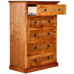 Forest Designs Cottage Five Drawer Dresser: 34W X 48H X 18D (Black Knobs)
