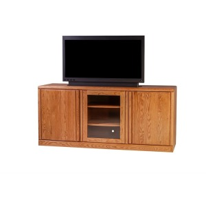 Forest Designs Bullnose Oak TV Cart with Media Storage: 67W x 30H x 21D