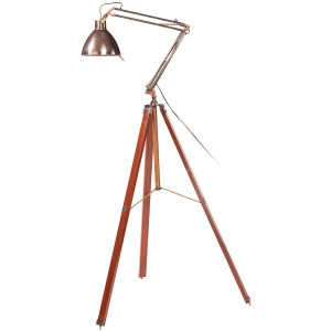 Wooden Leg Floor Lamp-Aged Brass